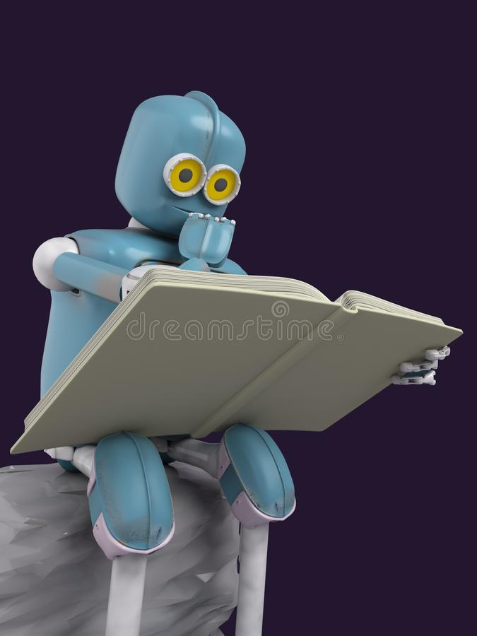 Robot is sitting on a stone and reading a book.3d.render royalty free illustration