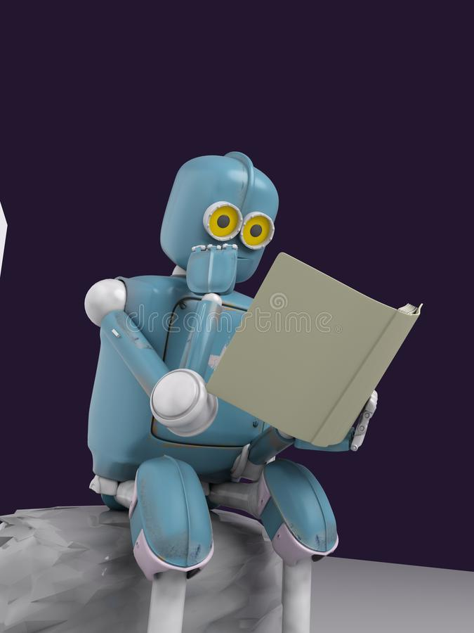 Robot is sitting on a stone and reading a book.3d.render stock illustration