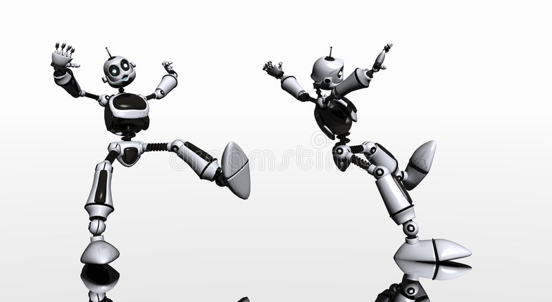 Robot slips and falls stock illustration