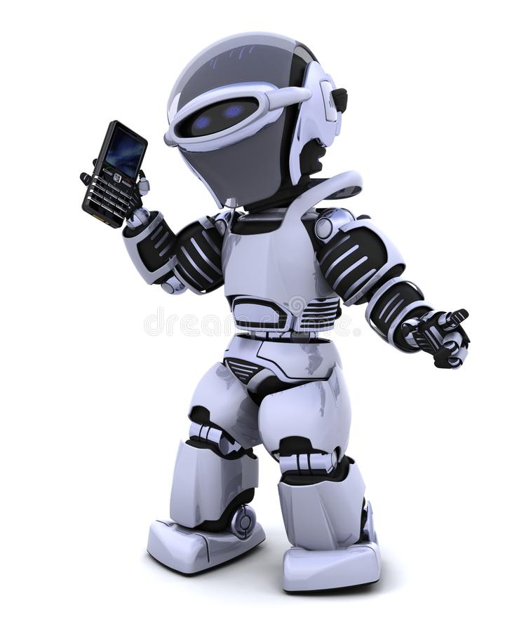 Download Robot with smart phoine stock illustration. Image of contact - 14298683
