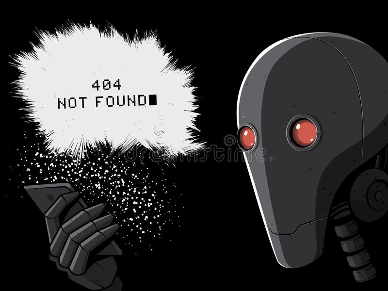 Robot and smartphone. 404 error page vector illustration