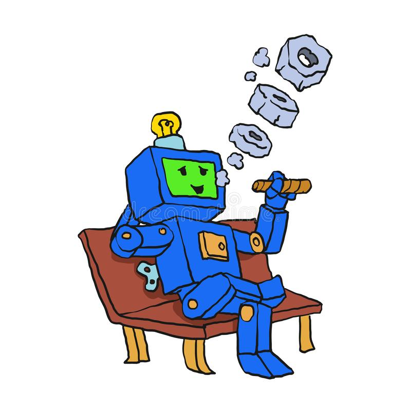 Robot smoking cigar cartoon royalty free illustration