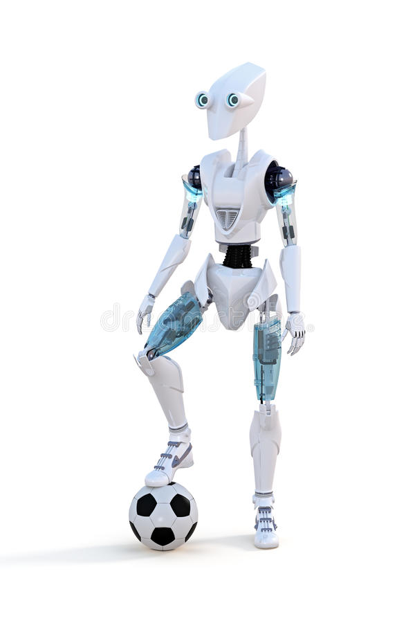 Robot with Soccer Ball stock photo