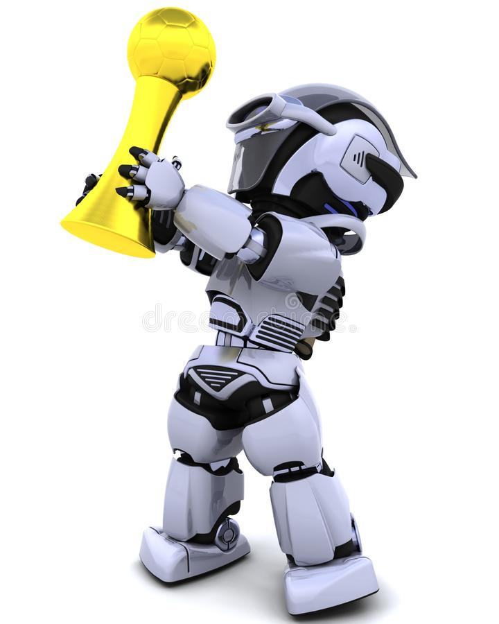 Robot with soccer trophy stock illustration