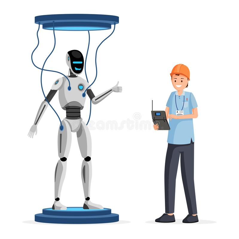 Robot software testing flat vector illustration. Cheerful engineer in helmet holding electronic device cartoon character vector illustration