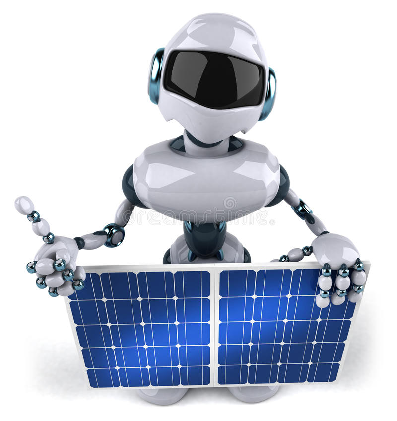 Download Robot and solar panel stock illustration. Image of ecologically - 16587523