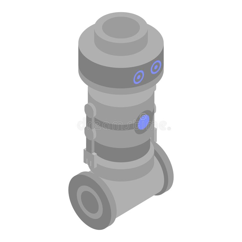 Robot soldier icon, isometric style royalty free illustration