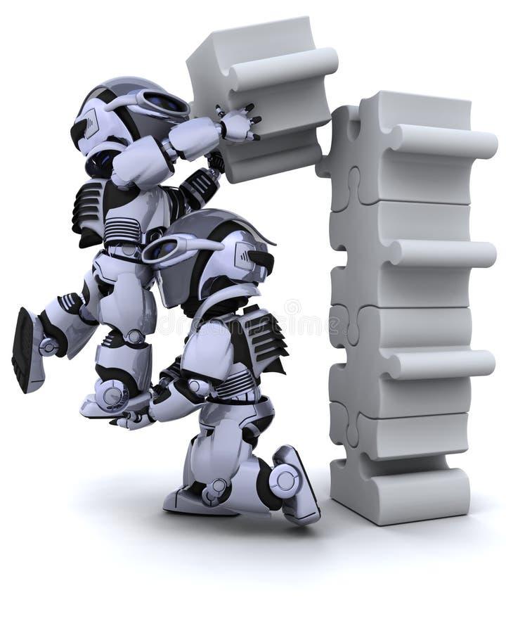 Robot solving jigsaw puzzle vector illustration