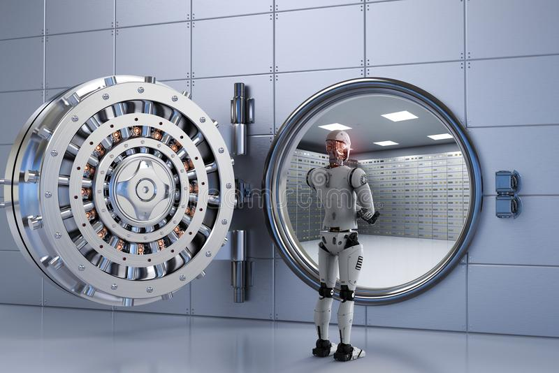 Robot som arbetar med bankvalvet royaltyfri foto