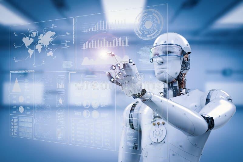 Robot som arbetar med digital skärm arkivbilder