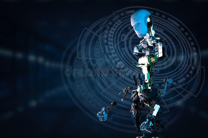 Robot som arbetar med faktisk skärm stock illustrationer