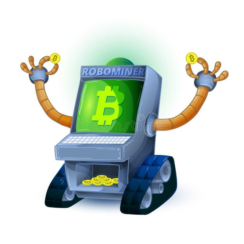 Robot som bryter mynt med det Bitcoin symbolet på vit bakgrund vektor illustrationer