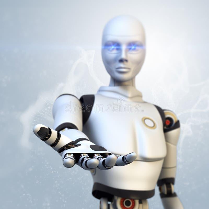 Robot som ger hans hand royaltyfri illustrationer