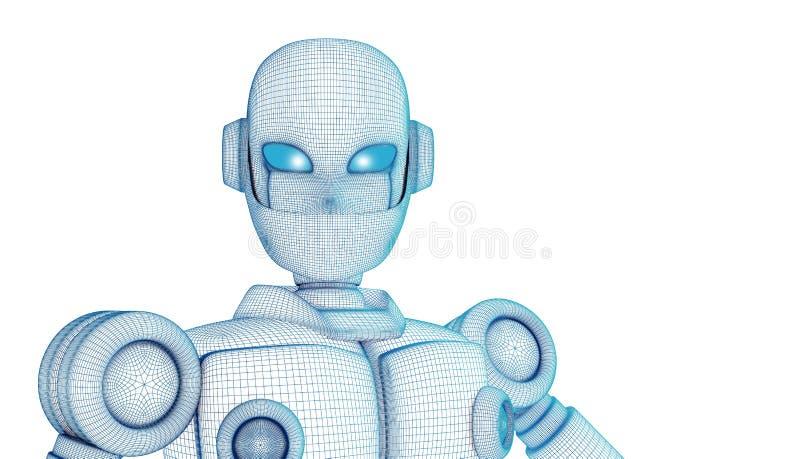 Robot som isoleras på vit, konstgjord intelligens i futuristiskt vektor illustrationer