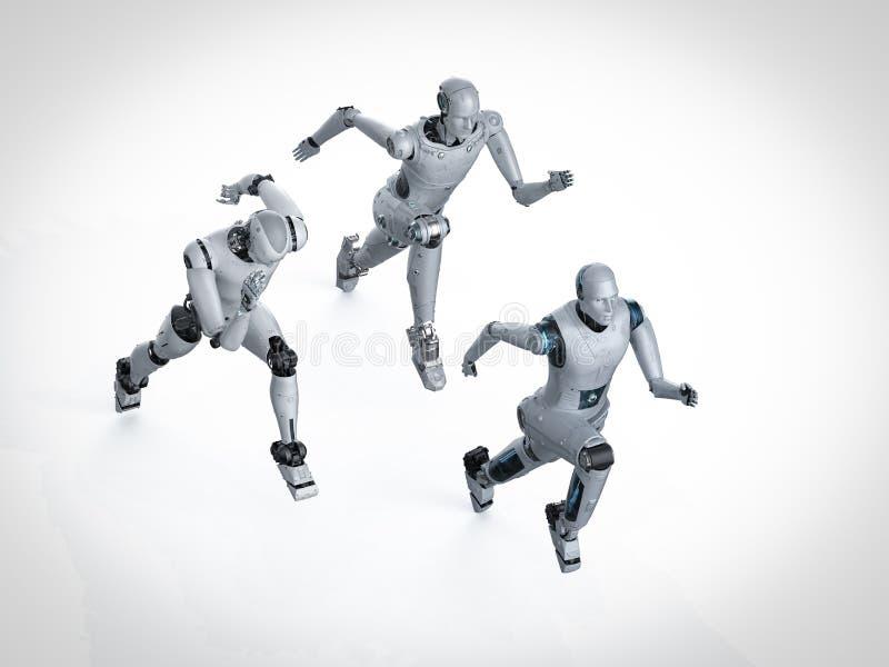Robot som k?r eller hoppar vektor illustrationer