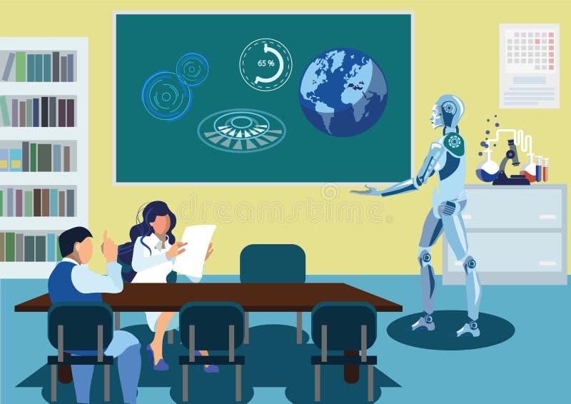Robot som levererar den plana vektorillustrationen för anförande stock illustrationer