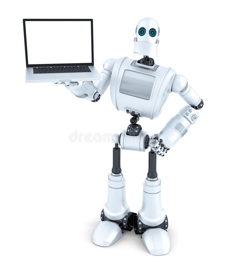 Robot som rymmer bärbara datorn för tom skärm isolerat Innehåller den snabba banan stock illustrationer