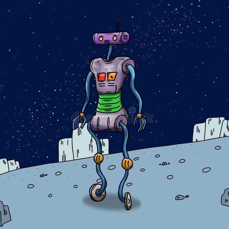Robot som ser illustrationen för utrymmefrämling vektor illustrationer
