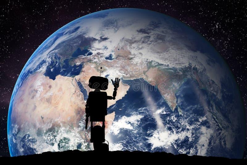 Robot som ser på planetjorden från utrymme Teknologibegrepp, konstgjord intelligens royaltyfria bilder
