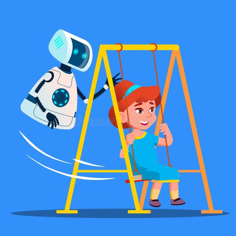 Robot som svänger lilla flickan på gunga på lekplatsvektor isolerad knapphandillustration skjuta s-startkvinnan stock illustrationer