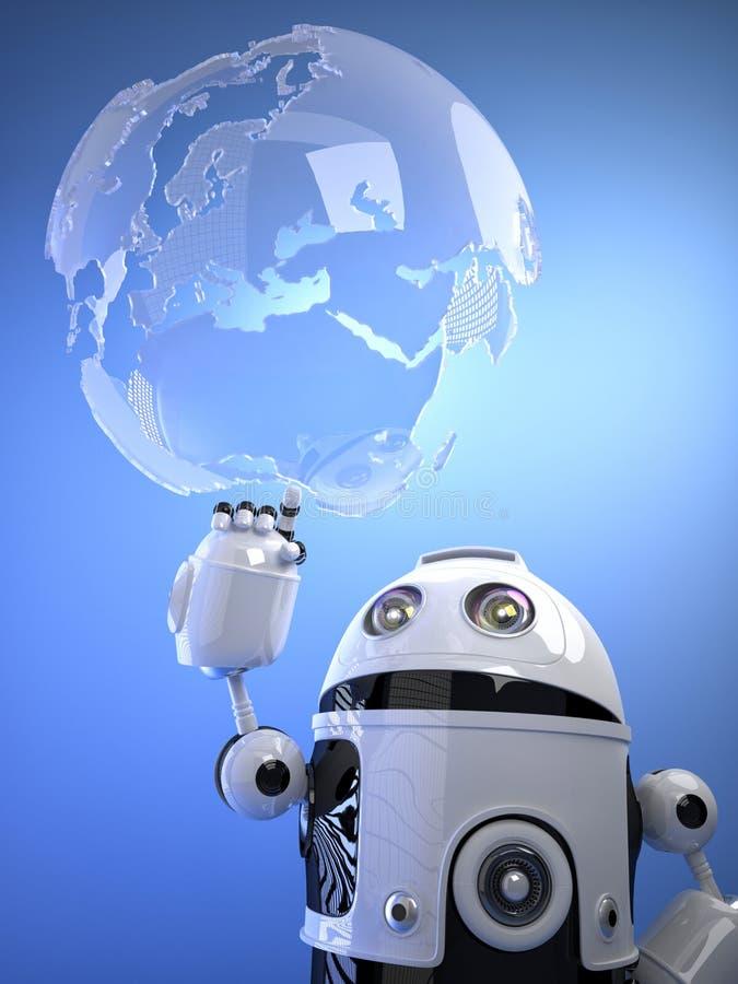 Robot som trycker på ett digitalt faktiskt jordklot royaltyfri illustrationer