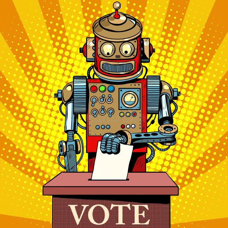 Robot som väljaren röstar på valdag stock illustrationer