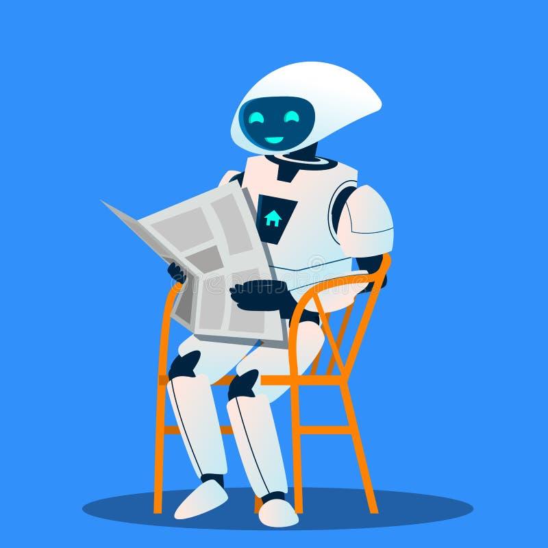 Robot som vilar på stol- och läsningtidningsvektor isolerad knapphandillustration skjuta s-startkvinnan royaltyfri illustrationer