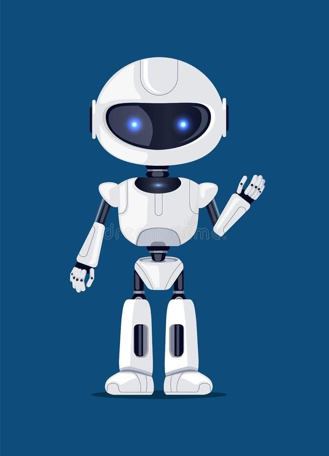 Robot som vinkar och hälsar vektorillustrationen stock illustrationer