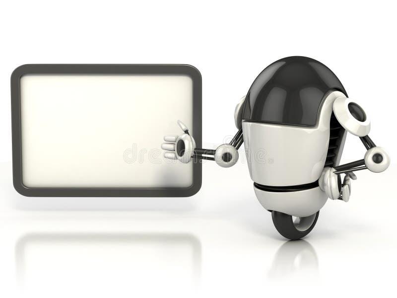 Robot som visar det blanka brädet royaltyfri illustrationer