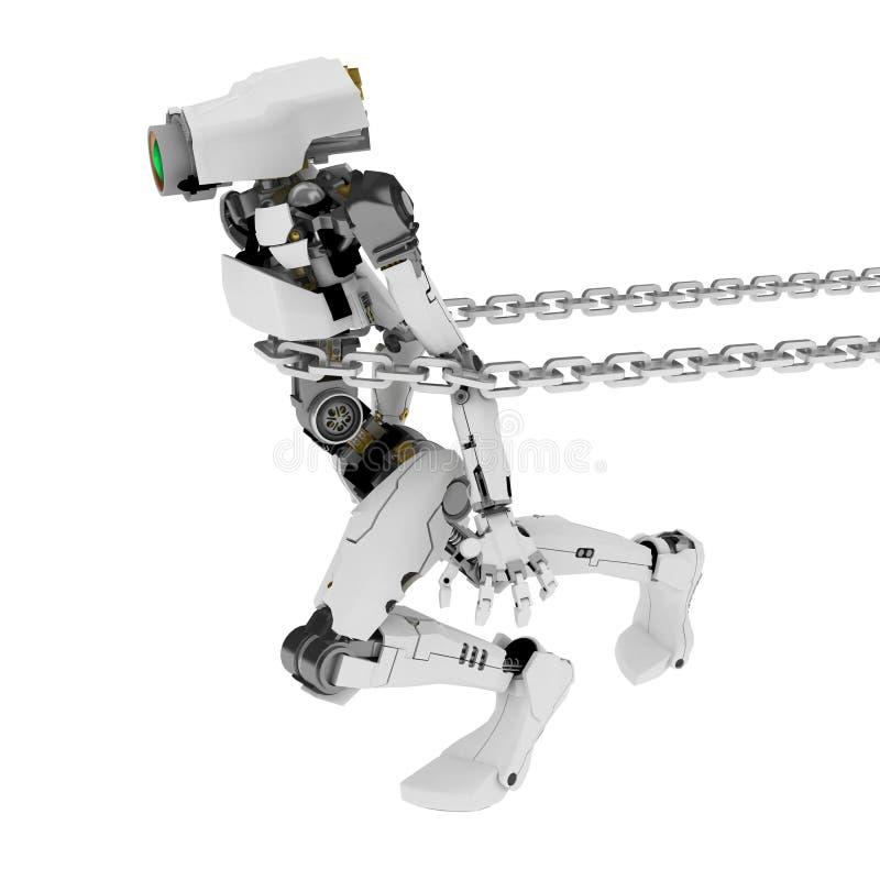 Robot sottile, trascinante illustrazione vettoriale