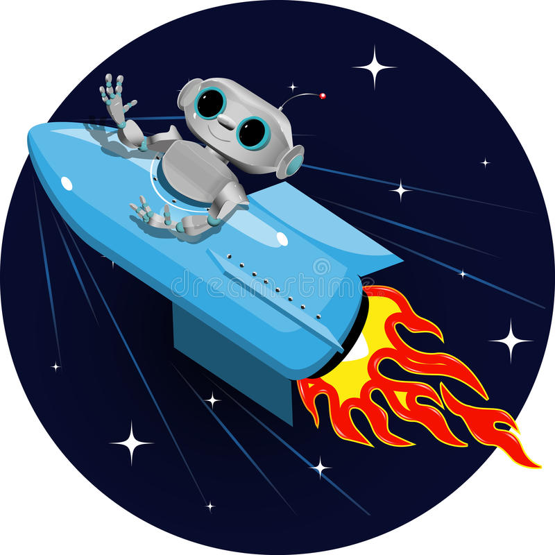 Robot on the space rocket royalty free illustration