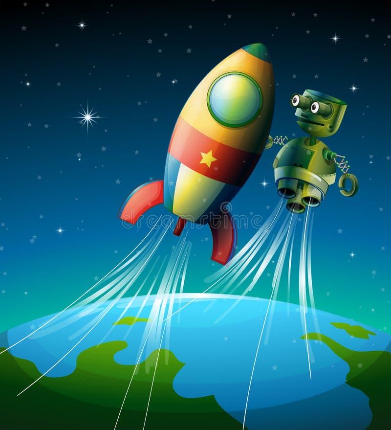 A Robot Beside A Spaceship Stock Photo