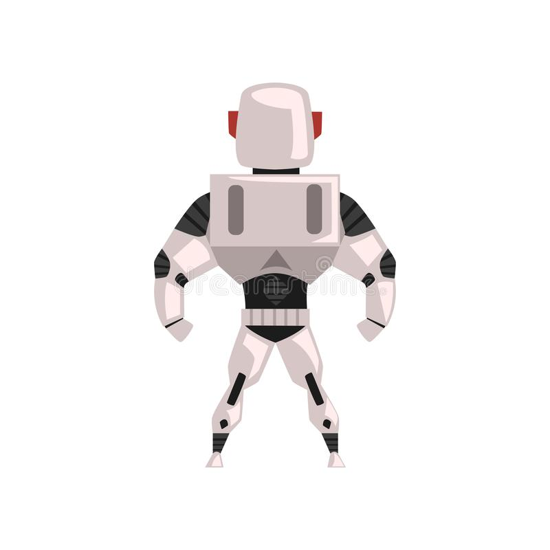 Robot spacesuit, superhero, cyborg costume, back view vector Illustration on a white background stock illustration