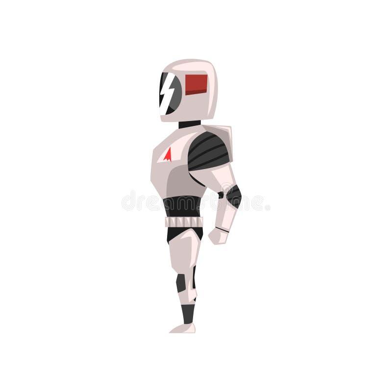 Robot spacesuit, superhero, cyborg kostuum, zijaanzicht vectorillustratie op een witte achtergrond vector illustratie