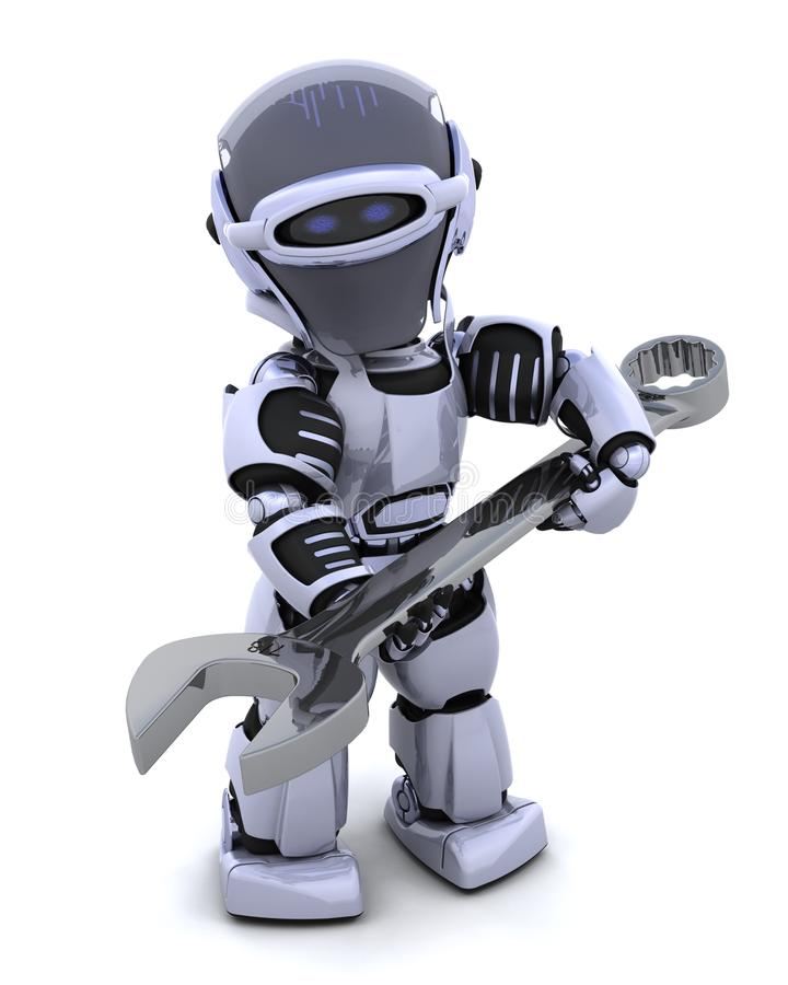 Download Robot with spanner stock illustration. Image of wrench - 16098779