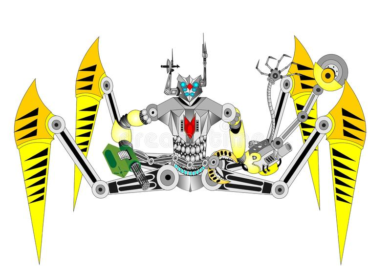 Robot spider terminator cyborg. A combat robot military robot is an automation device that replaces a person in combat situations to save human life or to work vector illustration
