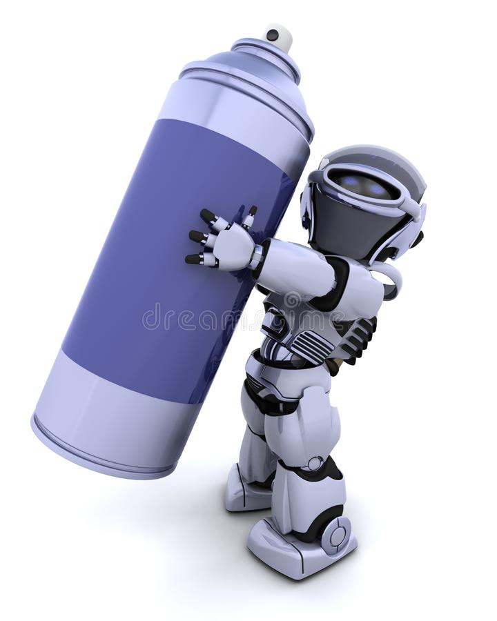 Robot with spray can stock illustration