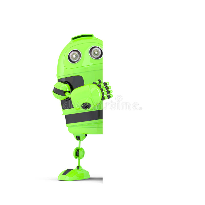 Robot standing behind blank banner. . Contains clipping path stock illustration