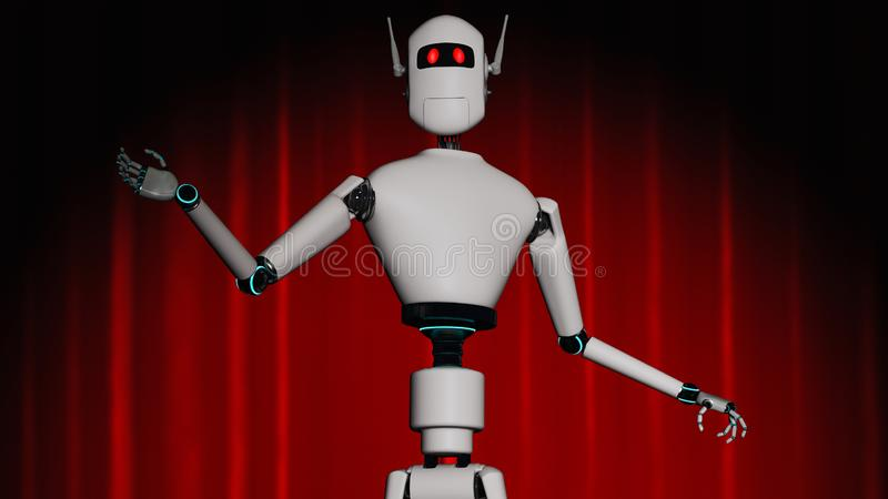 A robot stands on a stage with a red curtain. 3d rendering vector illustration