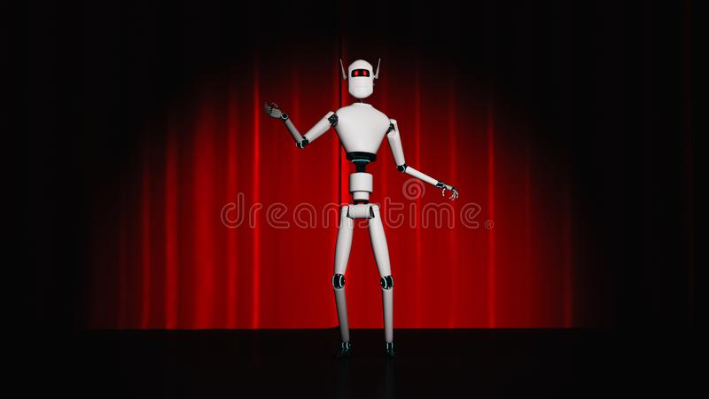 A robot stands on a stage with a red curtain. 3d rendering stock illustration