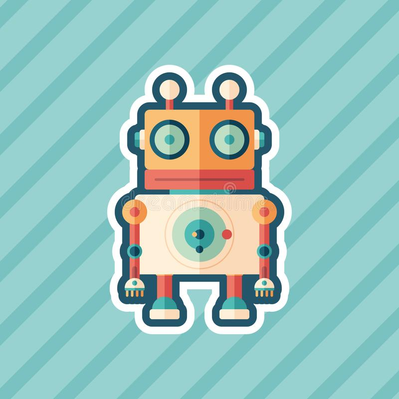 Robot stargazer sticker flat icon with color background. royalty free illustration
