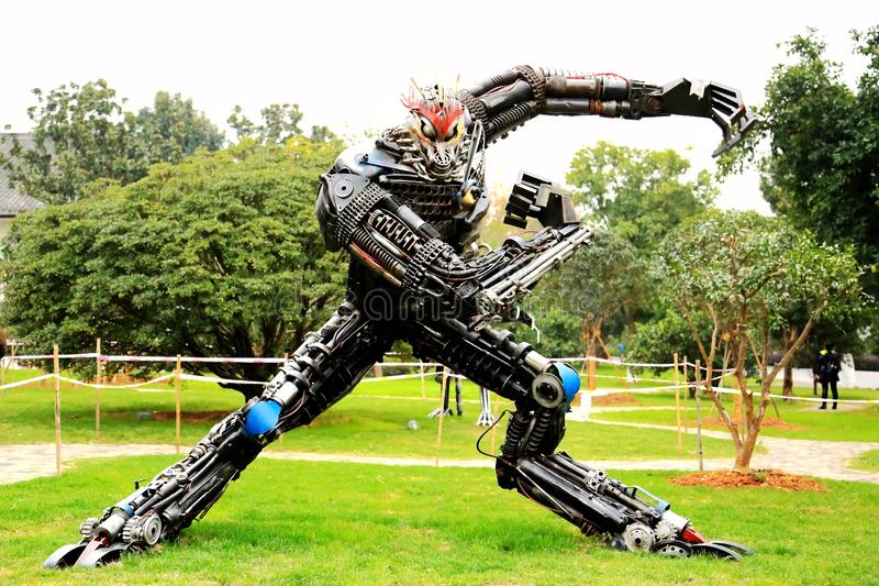 The Robot statue in Juzizhou island. Located in the heart of the Xiangjiang River in Changsha City. It is the largest famous island in the Xiangjiang River royalty free stock photography