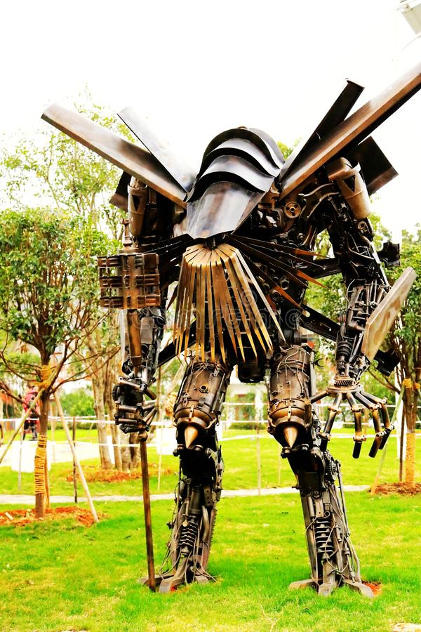 The Robot statue in Juzizhou island. Located in the heart of the Xiangjiang River in Changsha City. It is the largest famous island in the Xiangjiang River royalty free stock image