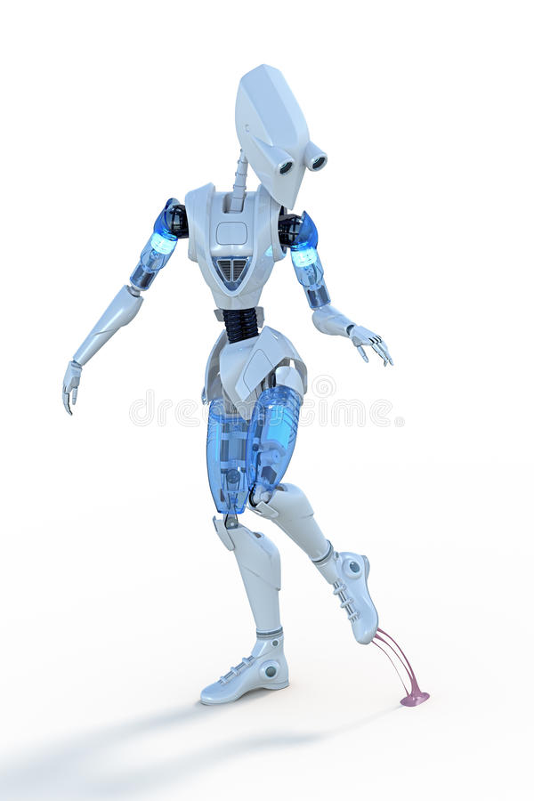 Robot Stepping on Chewing Gum stock images