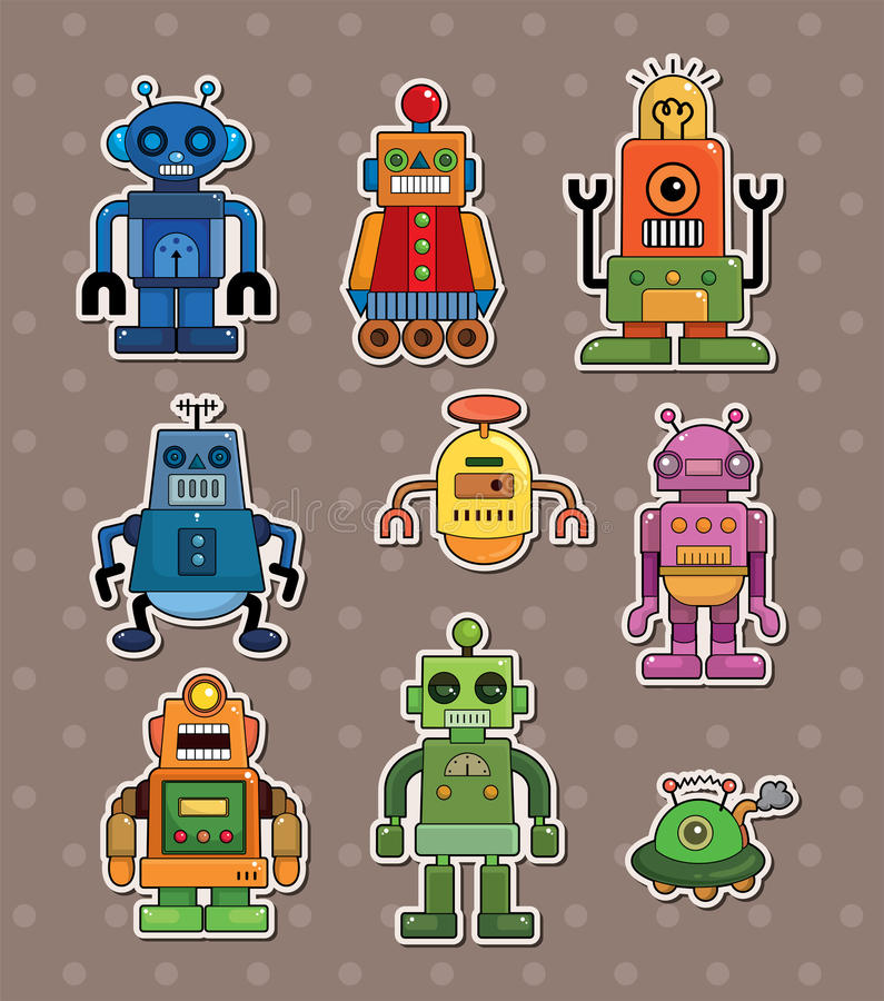 Download Robot stickers stock vector. Image of computer, doodle - 24800223