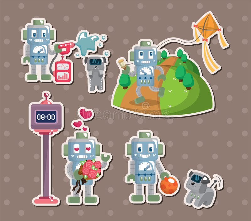 Download Robot stickers stock vector. Image of illustration, doodle - 26558478