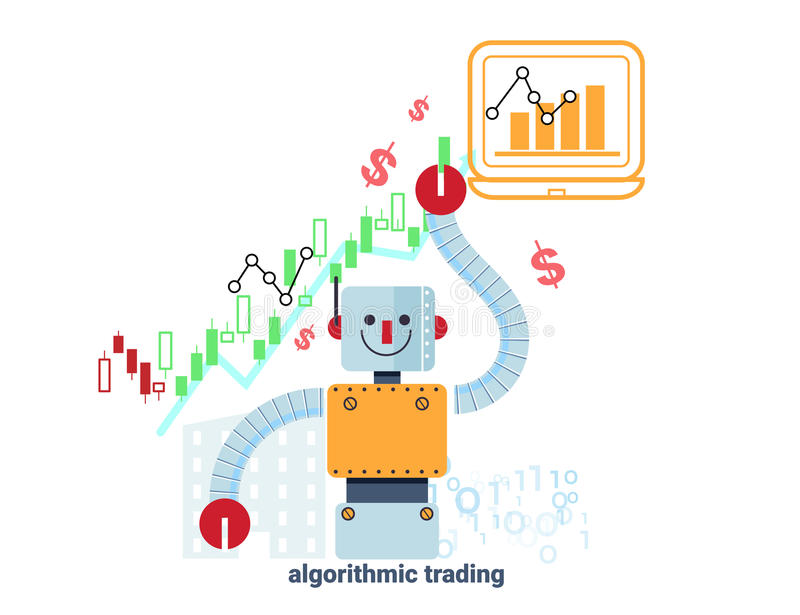 Robot and stock market chart vector illustration stock illustration