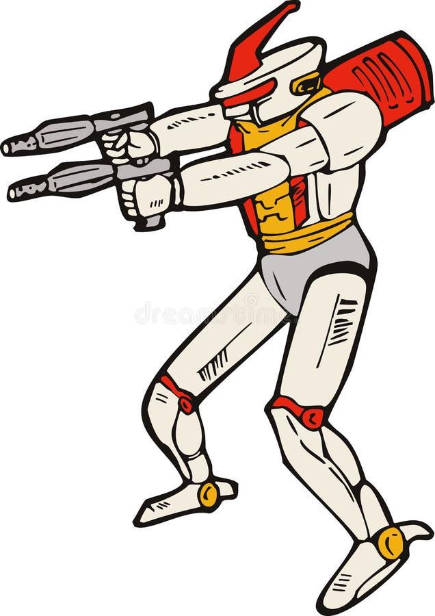 Robot straniero con la pistola illustrazione vettoriale