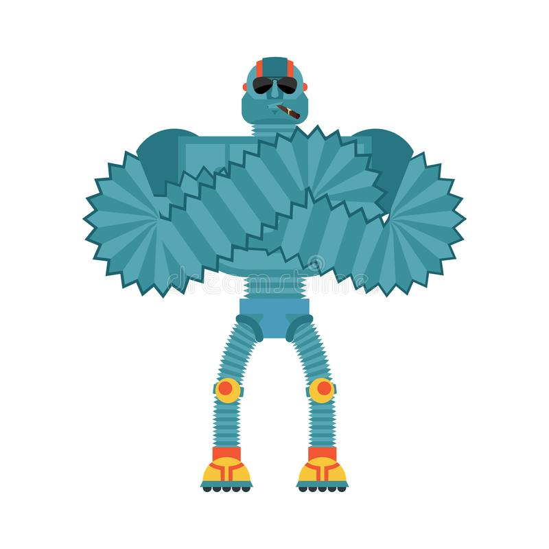 Robot Strong Cool serious. Cyborg smoking cigar emoji. Robotic m. An strict. Vector illustration stock illustration