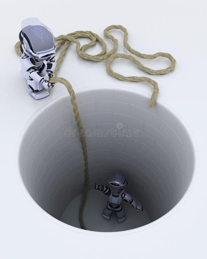 Download Robot Stuck In A Hole Metaphor Stock Illustration - Illustration: 24203436